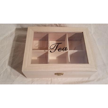 Boite à thé bois 6 cases